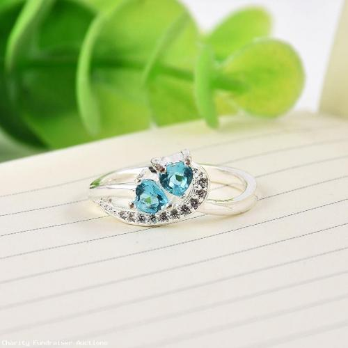 Beautiful Blue Saphire Heart to Heart with cz rhinestones silver